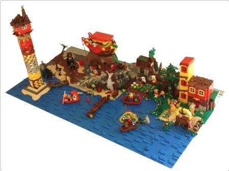 Oceanside living.  Very cool MOC.  I like the use of the blue bricks to make water movement.