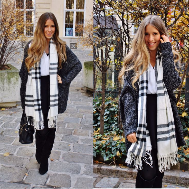 Love my #scarf Black And white look ❤️