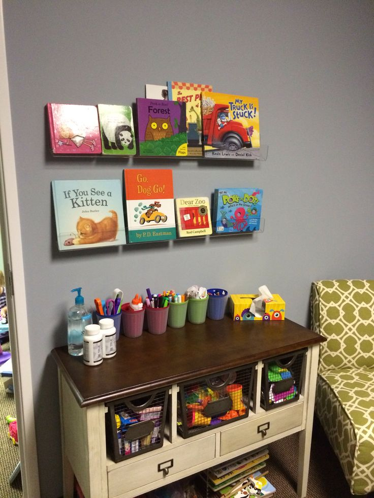 New book shelves in our small speech therapy room. www.childrenstherapycts.com