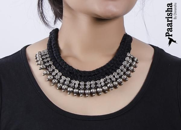 Mumbai Black and silver necklace
