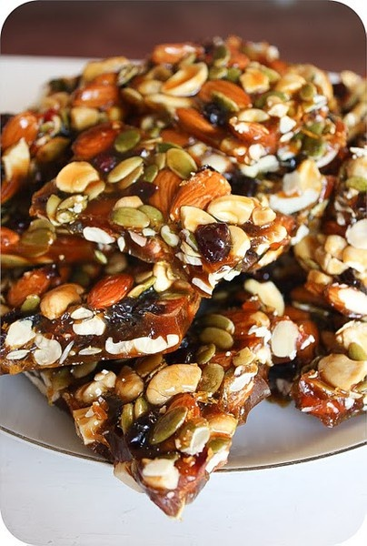 Autumn Brittle - Ingredients: 1 Cup Almonds, 1 Cup Cashews, 3/4 Cup Pumpkin Seeds, 2/3 Cup Dried Cranberries,  1 1/2 Cups Golden Brown Sugar, 1 Cup Granulated Sugar , 1/2 Cup Honey, 1 Cup Water, 1/2 Teaspoon Salt, 1 Tablespoon Butter  follow preparation instructions and enjoy!