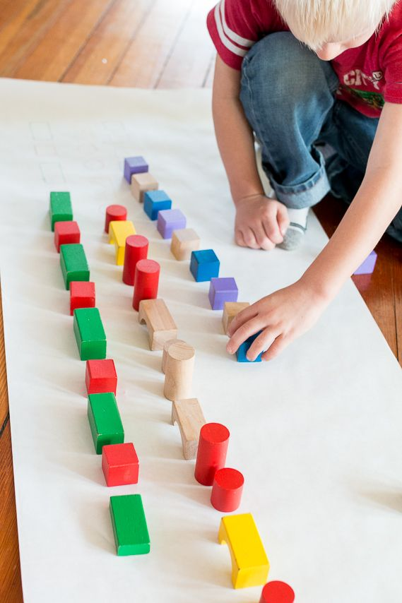 Matching up blocks to their shape and color is a fantastic activity for older toddlers. Add pattern play to change it up and add difficulty for preschoolers.