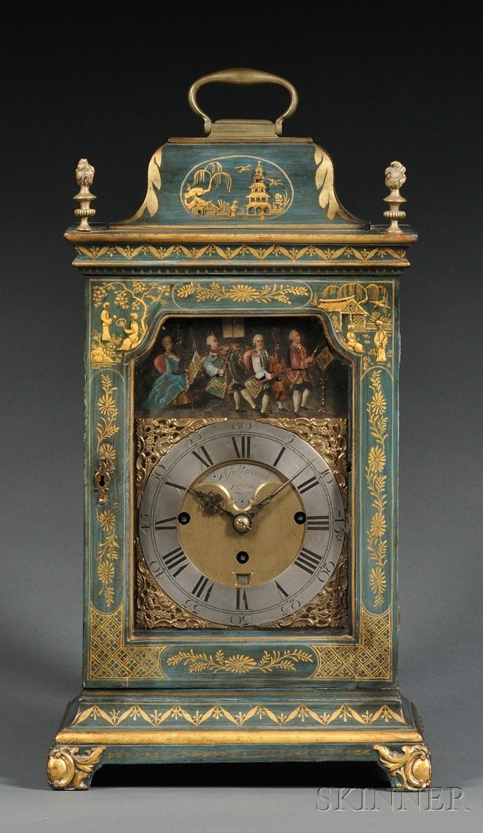 Sold for: $22,515 - Japanned Musical Bracket Clock with Automata by Stephen Rimbault
