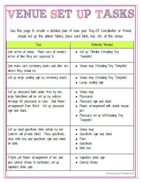 printable editable wedding day template detailed version purple in