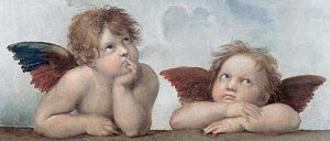 Angel Painting - Putti Detail From The Sistine Madonna by Raphael