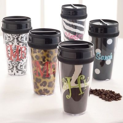 Bridesmaids Gift: Playful Print Personalized Tumblers