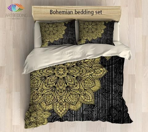 Bohemian bedding, Gold deco Mandala duvet cover set, Bohochic vintage mandala duvet cover set, black and gold mandala bedding set