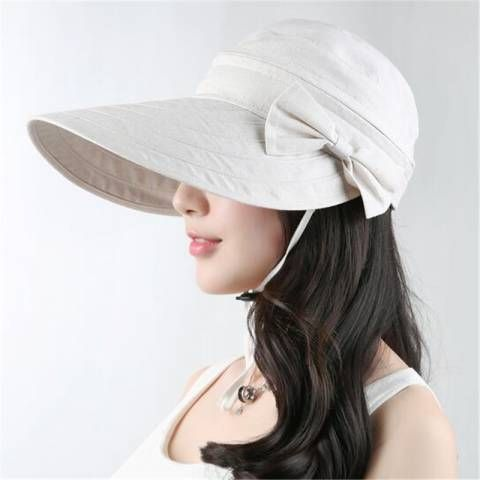Wide brim sun visor hat for women outdoor removable bow summer hats
