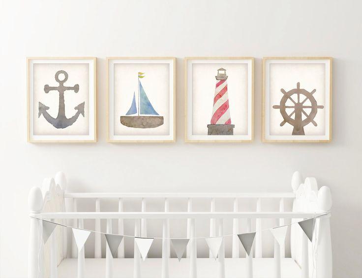 Nautical Nursery Decor - Wall Art Canvas - Canvas Nursery Art - Sailboat Art - Art Prints For Kids - Lighthouse Print - Beach Nursery by SweetfaceAndCo on Etsy https://www.etsy.com/listing/226425718/nautical-nursery-decor-wall-art-canvas