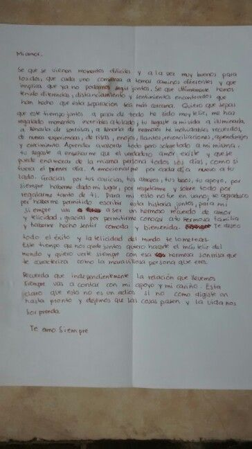 Carta despedida al amor de mi vida