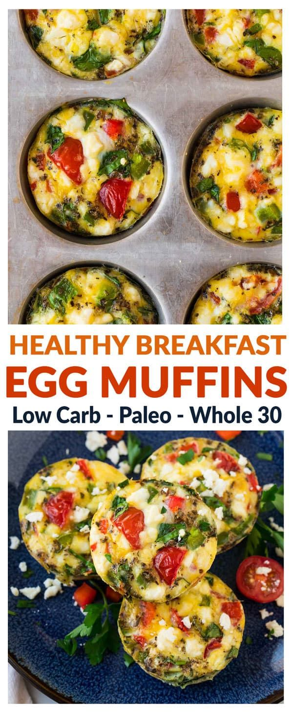 Healthy Breakfast Egg Muffins. Easy, low carb, and freezer friendly, these healthy egg muffin cups are the perfect makeahead breakfast. Like mini quiches without the crusts! Add spinach, ham, or any favorite veggie. Delicious with or without cheese, so th