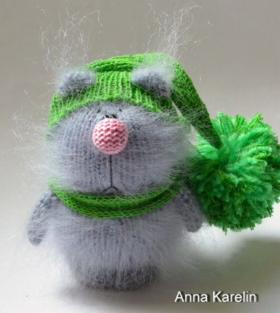 Fluffy Cat Grey Amigurumi Kitten Miniature Pet by MiracleStore