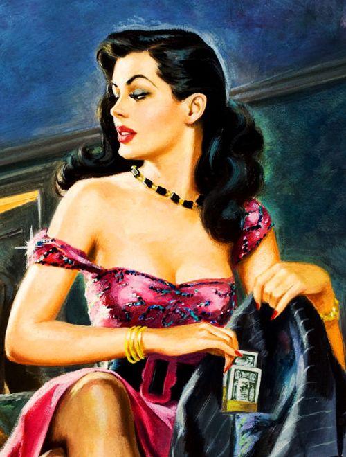 """""""Exposing Hot Money Honeys"""" (detail) for Best True Fact Detective cover, January, 1952"""