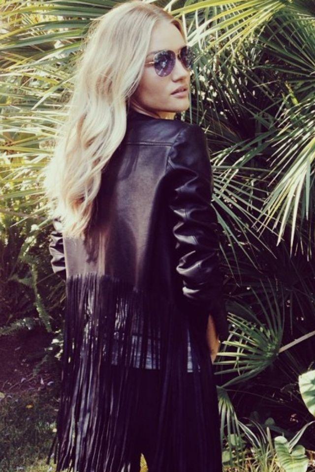 ☆ ℛebel ℬelle ๑ Long fringed leather jacket