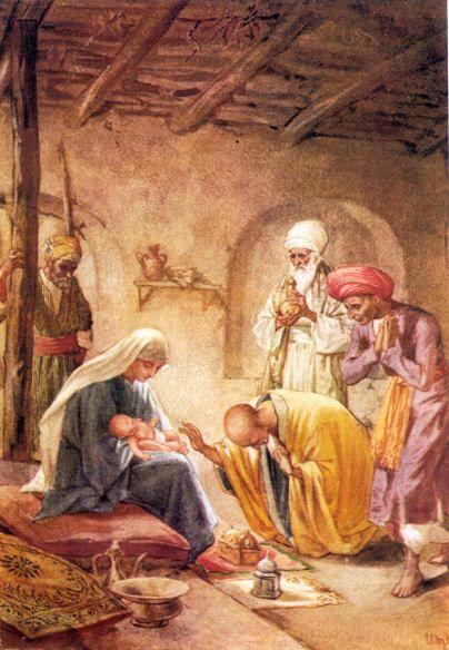 santa llega a casa cartoons   La adoración de los Reyesal Niño Dios