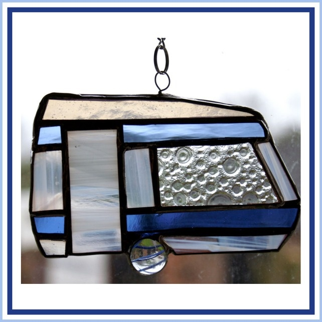 Caravan Classic Stained Glass Suncatcher Campin... - Folksy