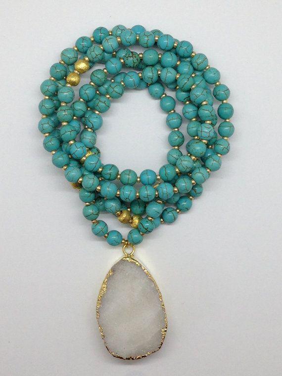 Turquoise Beaded Druzy Pendant Necklace by Goldenstrand Jewelry, www.goldenstrandjewelry.com