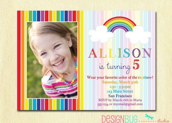 Rainbow Birthday Invitation - Girls Rainbow Party Photo Invitation -  Printable 1, 2, 3, 4, 5 year old or ANY age Birthday Invite on Etsy, $15.00