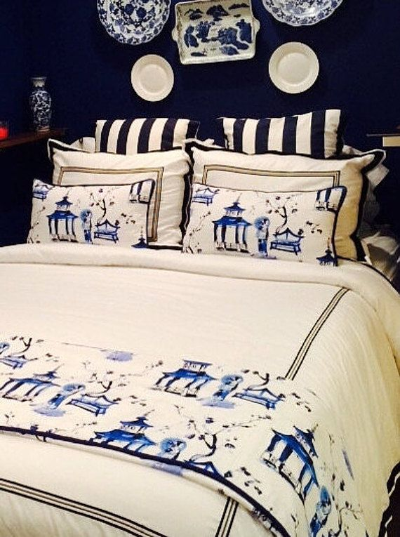 Asian Pillow Blue and White Pillow Cover by thehappyseamstress