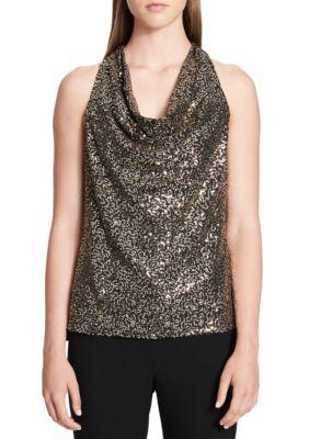 Calvin Klein Women's Sleeveless Metallic Lace Top - Blk Gold - Xl