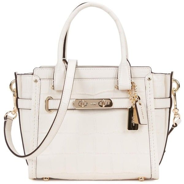Womens Tote Bags Coach Swagger 21 Ivory Crocodile-effect Tote ($545) ❤ liked on Polyvore featuring bags, handbags, tote bags, zippered tote, handbags totes, white tote bag, coach handbags and leather tote bags