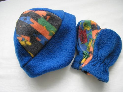 Baby's Blue Harlequin Fleece Earflaps Hat Mitts from Jacaranda  £5.99
