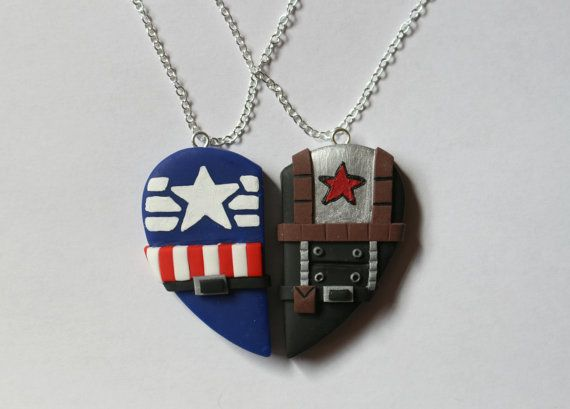 Captain America & Bucky Barnes Friendship Necklaces - CharmingClayCreation -- For the soldier in us. :)