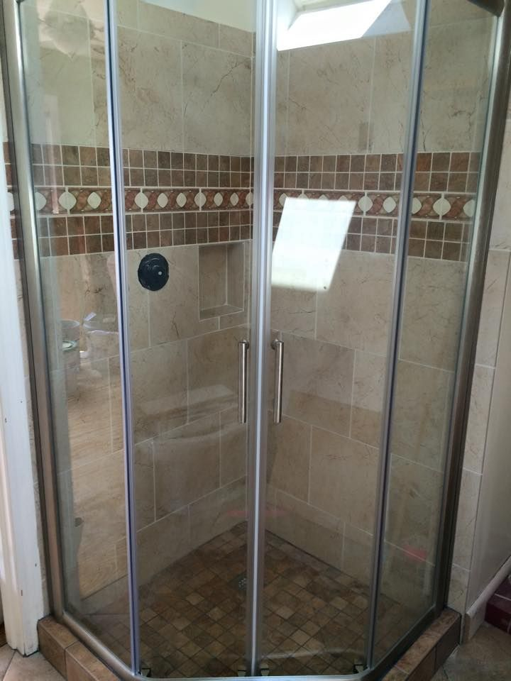 alumax kona neoangle sliding shower enclosure brushed nickel hardware with clear glass