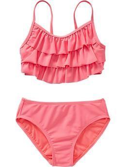 Girls Ruffle-Tiered Bikinis