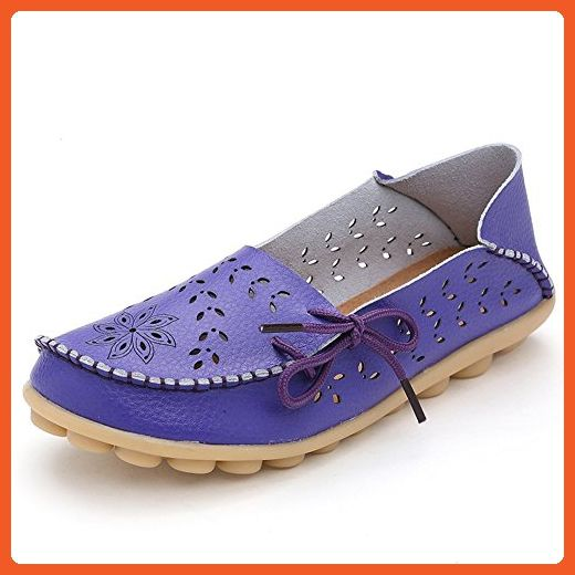 Susanny Casual Moccasin Loafers Women's Leather Driving Shoes Indoor Flat Slip-on Purple Slippers 8 B (M) US - Loafers and slip ons for women (*Amazon Partner-Link)