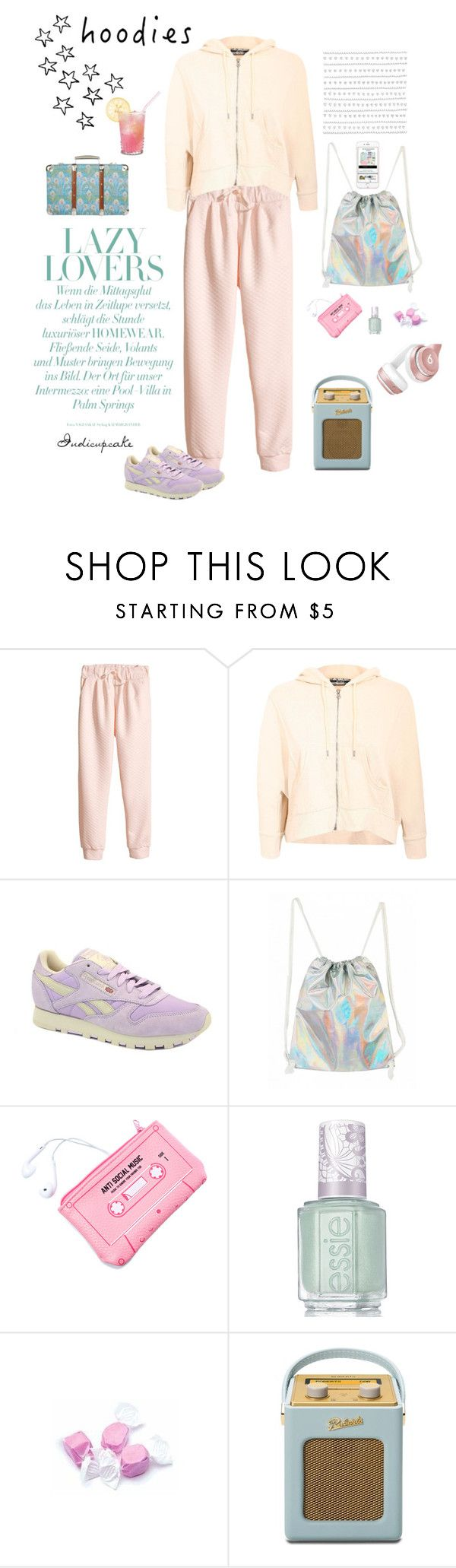"""""""hoodies"""" by indicupcake ❤ liked on Polyvore featuring H&M, Pilot, Reebok, Lazy Oaf, Essie, Salt Water Sandals, Roberts, Liberty and Beats by Dr. Dre"""