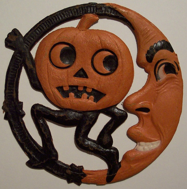 vintage german halloween pumpkin man and moon diecut by riptheskull via flickr - Halloween Vintage Decorations