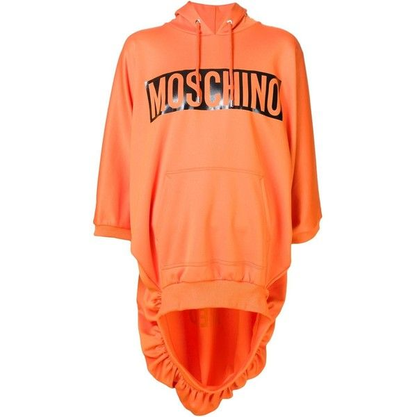 Moschino caution print hoodie ($805) ❤ liked on Polyvore featuring tops, hoodies, orange hoodie, oversized hoodie, oversized hooded sweatshirt, orange hoodies and hooded sweatshirt