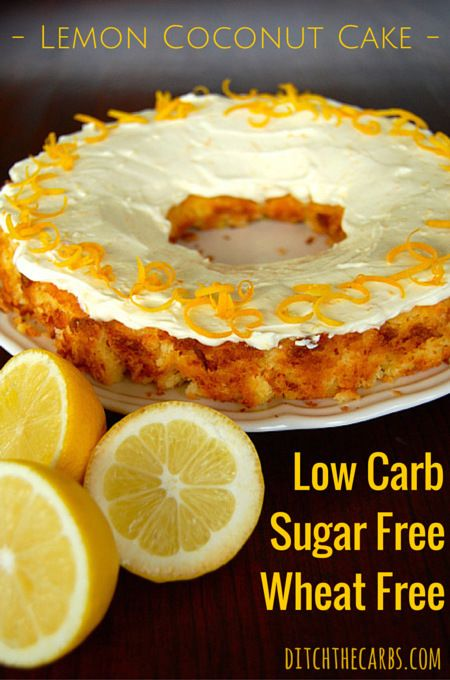 Low Carb Lemon Coconut cake that is easy, sugar free, grain free and low carb. | ditchthecarbs.com via @ditchthecarbs