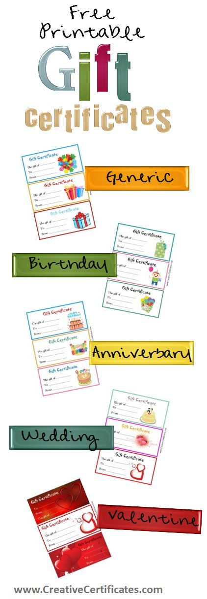 Free printable gift certificates - for birthdays, anniversaries, Christmas, Valentines Day, etc