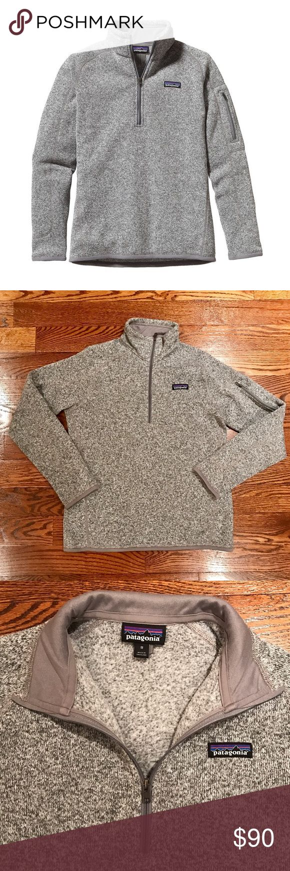 Patagonia Better Sweater 1/4 Zip Excellent condition!! Authentic Patagonia Women's Better Sweater® 1/4-Zip Fleece. In Birch white. So comfy and cozy !!                                      This knitted, cross-dye pullover sweater combines the aesthetic of wool with the easy care of polyester fleece dyed with a low-impact process that significantly reduces the use of dyestuffs, energy and water compared to conventional dyeing methods. Quarter length front zipper with wind flap and…