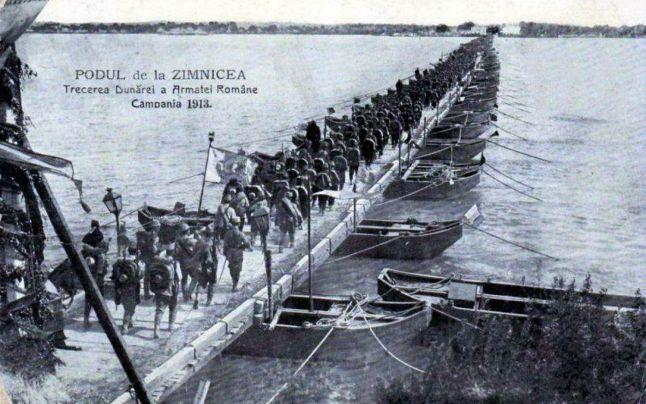 Romanian army crossing  Danube at Zimnicea 1913, second Balkan war