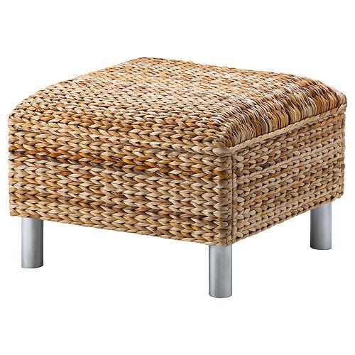 Ikea klippan footstool ottoman banana fibers woven rattan stool new nip fiber ottomans and rattan - Rechthoekige lederen pouf ...