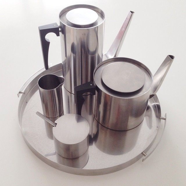 Cylinda Line stainless steel coffee tea service set by Arne Jacobsen for Stelton Denmark