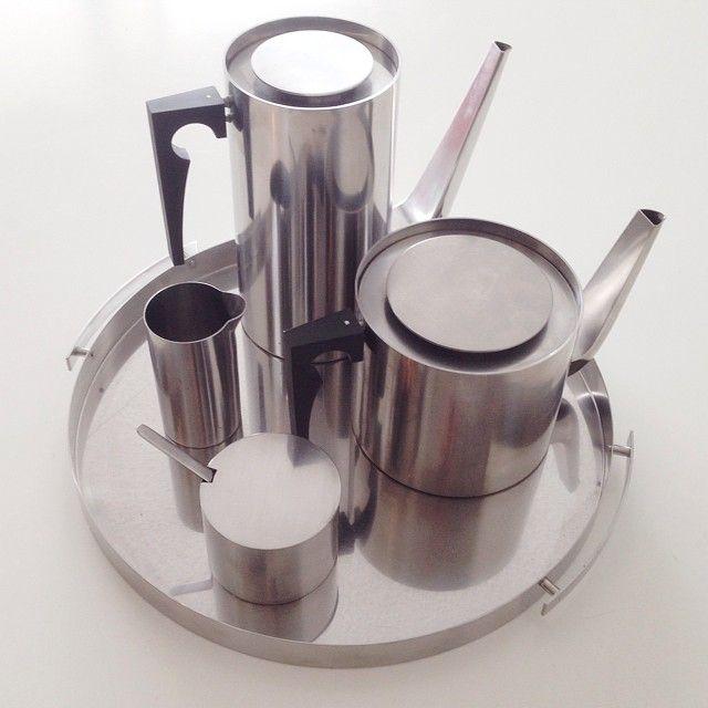 Cylinda Line stainless steel coffee tea service set by Arne Jacobsen for Stelton Denmark