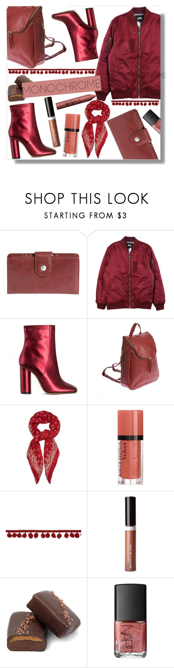 """burgundy monochrome"" by monykhaled ❤ liked on Polyvore featuring HOBO, Stussy, Jill Stuart, Overland Sheepskin Co., Yves Saint Laurent, Bourjois, Beauty Is Life, John Kelly Chocolates, NARS Cosmetics and tarte"