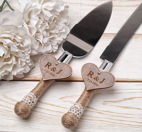 Cake Serving Set Rustic Wedding Cutting Knife Servers Cutter Decoration By Inesesweddinggallery