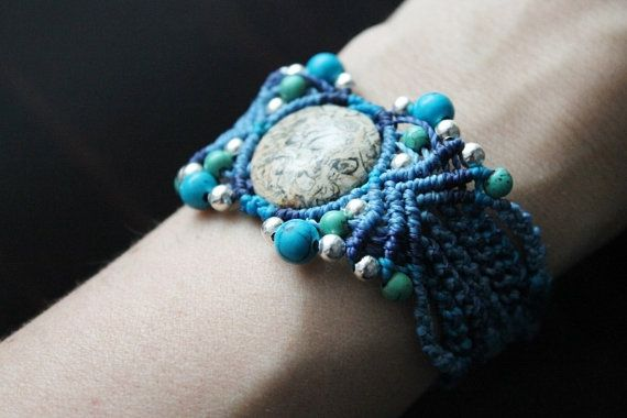 Handmade unique macrame cuff with fossil stone and by SuryaSoul
