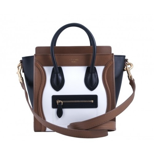 CELINE Nano Mini Luggage Satchel Tote Bag Purse Leather Tri Brown ...