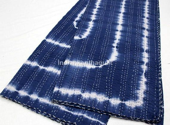 Vintage Kantha indgo Hand Stitched Quilt 100% Indian Cotton