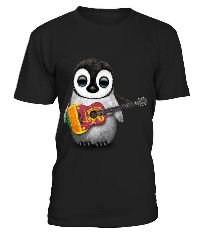 Baby Penguin Playing Sri Lankan Flag Guitar  Funny Baby T-shirt, Best Baby T-shirt