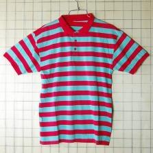 古着ヨーロッパ製 レッド×ターコイズ ボーダーポロシャツ