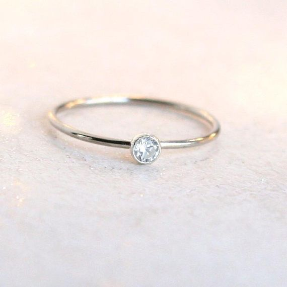 Sterling Silver Minimal Contemporary Design Stacking 925 Thin Flower Bridesmaids Band Delicate Dainty Ring Sparkling Stones Elegant