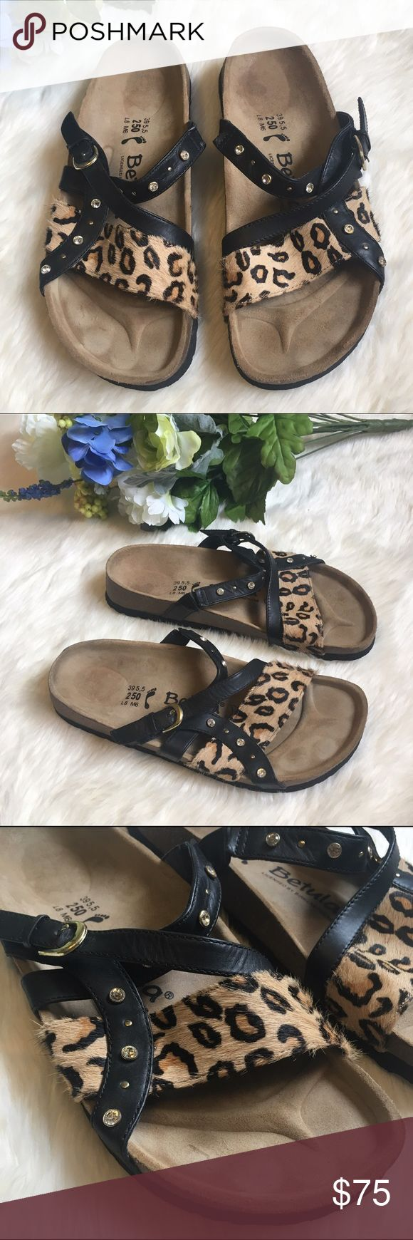 Birtkenstock Betula Leopard Print Bling Sandals Like new! These Betula sandals have three leather straps, one with a leopard print fur, the other with bling/metal stud patterns--super cute! These are marked as size 8L or 6M Birkenstock Shoes Sandals