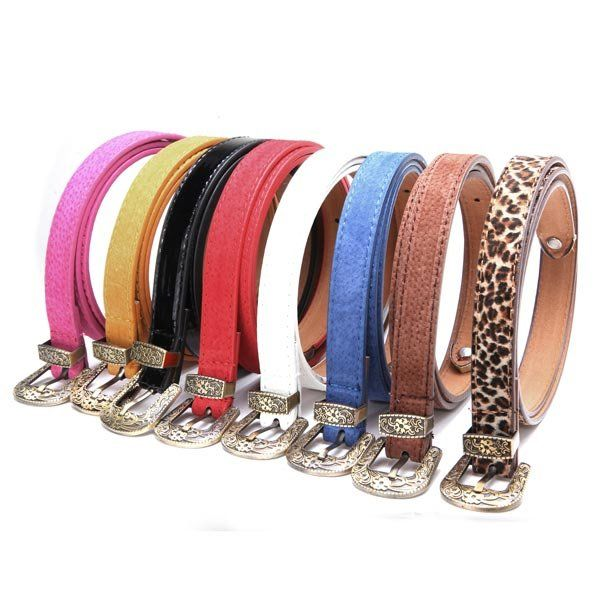 Women's Fashion Candy Color Metal Buckle Belt - US$4.79
